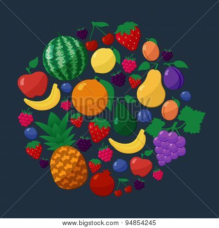 Vector Fruits and Berries Flat Style Icons Set in Circle Shape over Dark Background