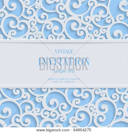 Vector Blue 3d Vintage Christmas or Invitation Cards Background with Swirl Damask Pattern