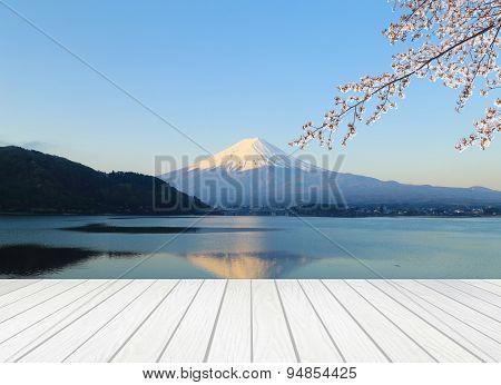 White Wood Terrace With Mt Fuji