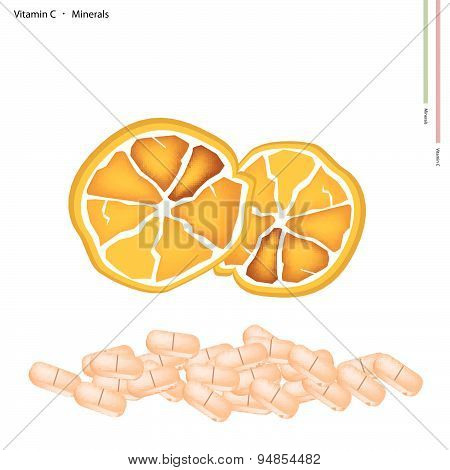 Ripe Orange With Vitamin C On White Background