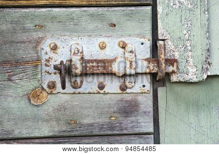 Closeup Of An Old Rustic Wooden Barn Door