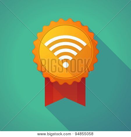 Long Shadow Badge Icon With A Radio Signal Sign