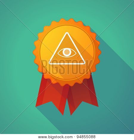 Long Shadow Badge Icon With An All Seeing Eye