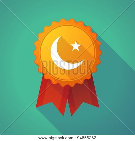 Long Shadow Badge Icon With An Islam Sign