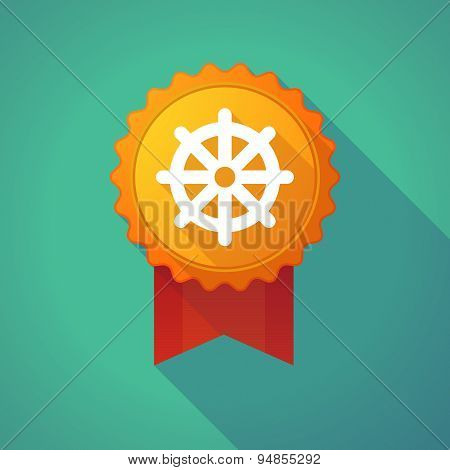 Long Shadow Badge Icon With A Dharma Chakra Sign