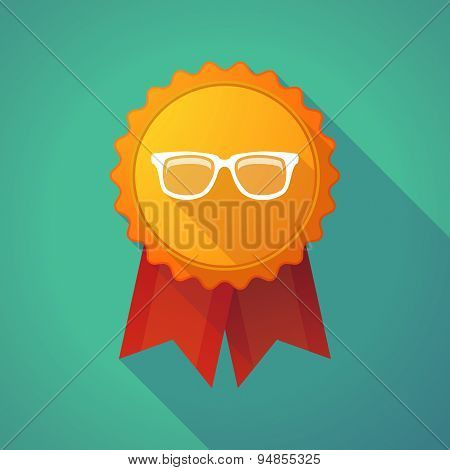 Long Shadow Badge Icon With A Glasses