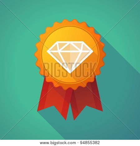 Long Shadow Badge Icon With A Diamond