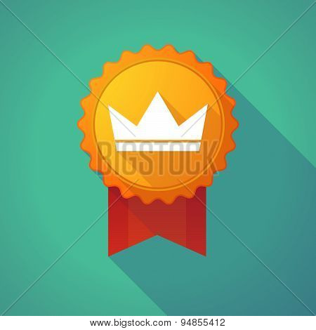 Long Shadow Badge Icon With A Crown