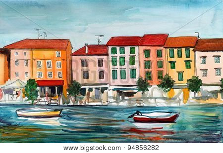 Watercolor. Picture with a seaside town, boat and sea.