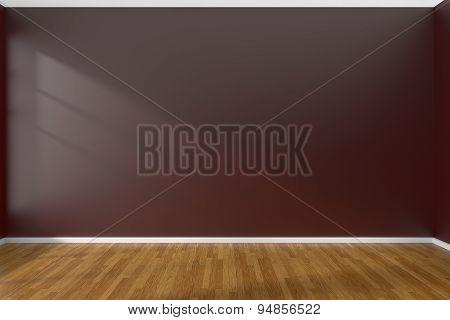 Dark Red Empty Room With Parquet Floor