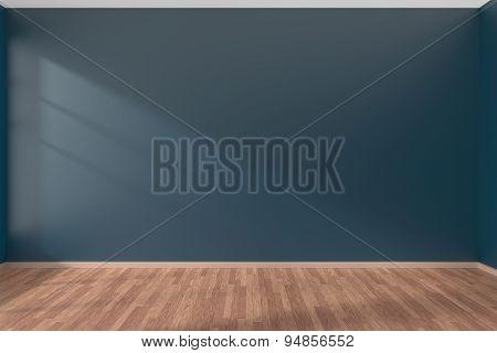 Dark Blue Empty Room With Parquet Floor