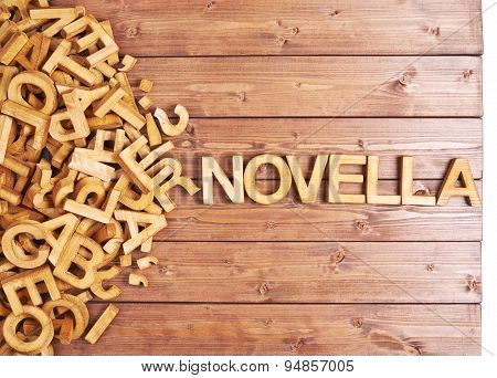 Word novella made with wooden letters