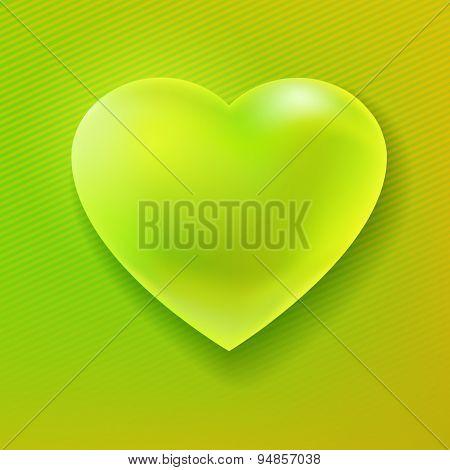 Green Colors Heart Shape Card