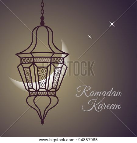 Ramadan Kareem card with oriental lamp