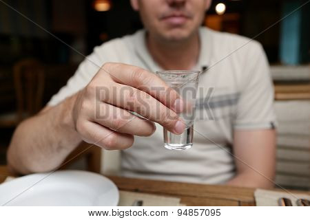 Man With Glass Of Vodka