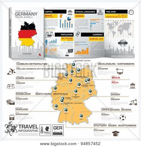 Federal Republic Of Germany Travel Guide Book Business Infographic With Map