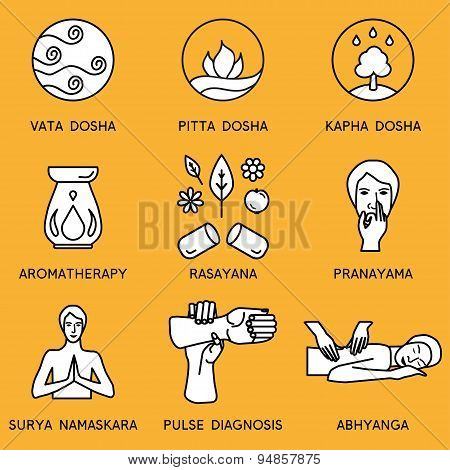 Set linear icons for ayurveda design.