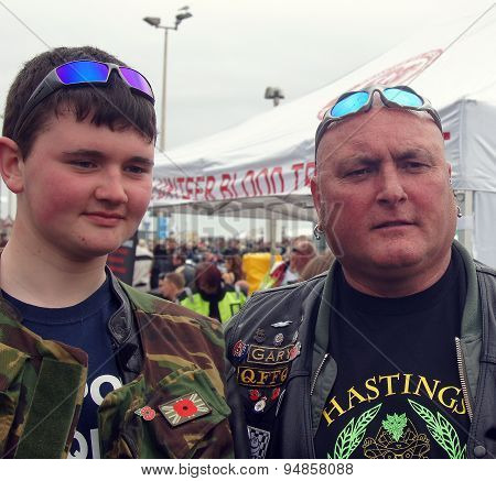 Father and son bikers in a bike festival