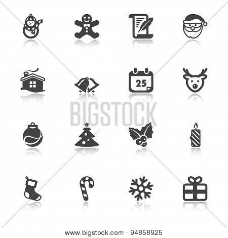 Christmas Flat Icons With Reflection