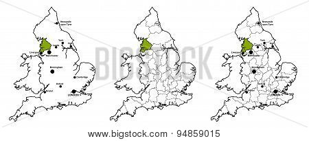 Lancashire located on map of England