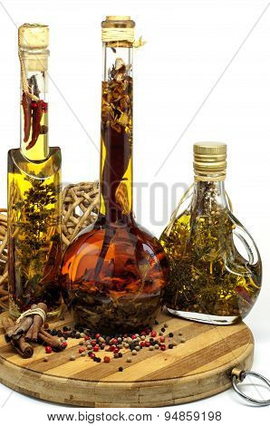Different Spiced Oil In Bottles
