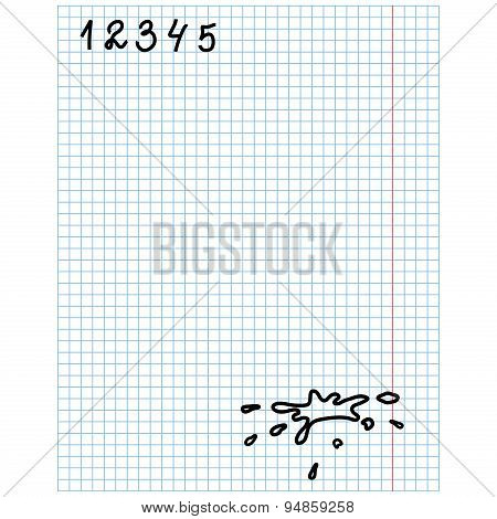 Checkered Sheet With Figures And Blots