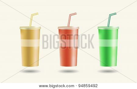 Disposable cups for beverages with straw