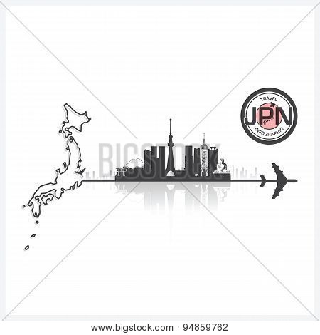 Japan Skyline Buildings Silhouette Background