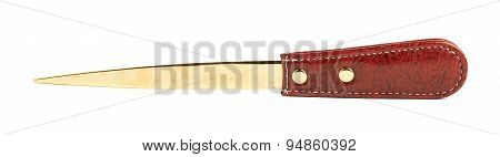 Red leather envelope knife isolated