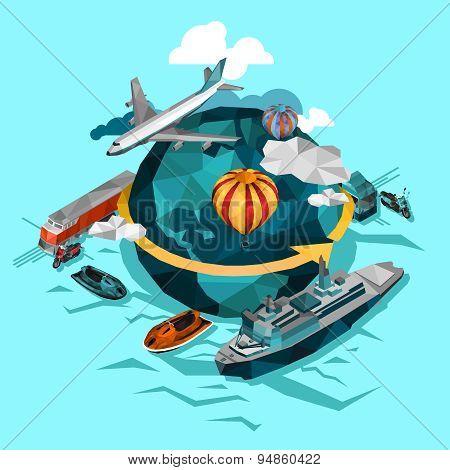 Transportation Low Polygonal Concept
