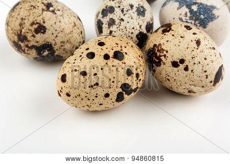 Five Quail Eggs On White Background
