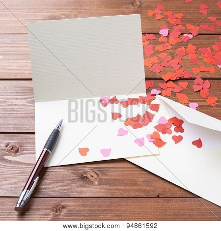 Empty valentine card composition