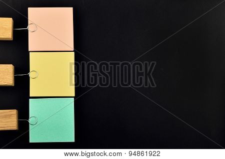 List, Three Paper Notes With Holder On Black For Presentation