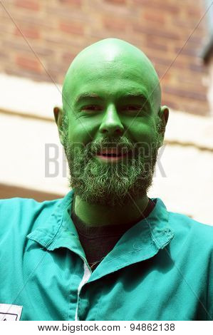 Green face man portrait