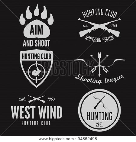 Set of logo, emblem, label or logotype elements for hunting club, shooting club