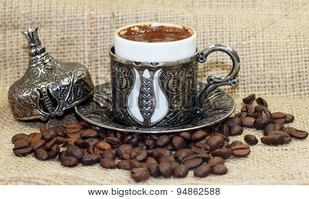 Traditional Turkish coffee with coffee beans