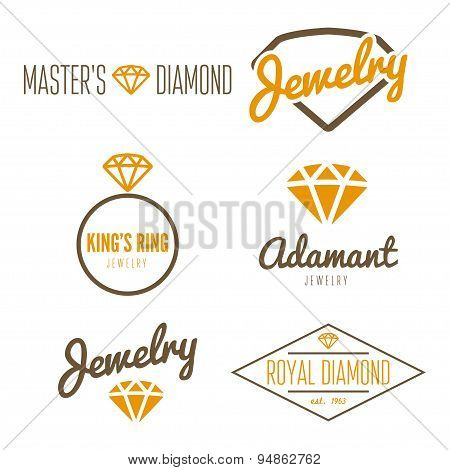 Set of logo, emblem, label, print, sticker or logotype elements for jewelry