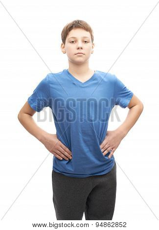 Focused young boy isolated