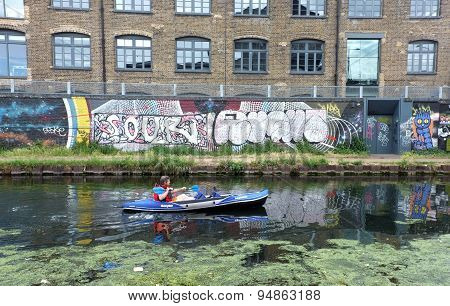 Man rowing on the canal