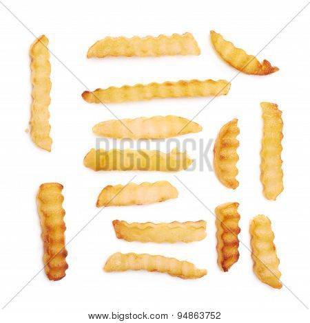 Multiple single wavy french fries isolated