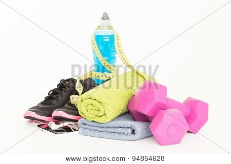 Pair Of Sport Shoes And Fitness Accessories On White.