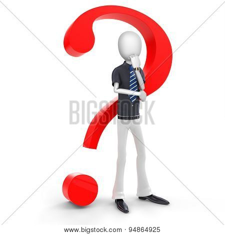 3D Man Businessman With A Red Question Mark