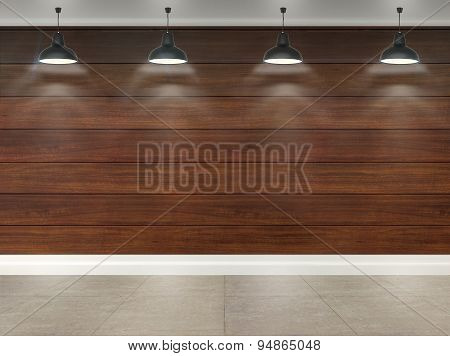 3D Wooden Room With Ceiling Lamps