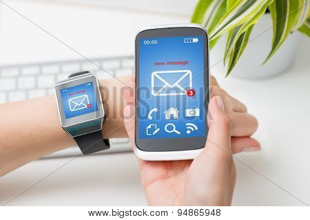 Female Hands With Smartwatch And Phone With Email.