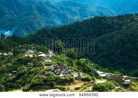 Village Houses Near Rice Terraces Fields. Amazing Abstract Texture With Sky Colorful Reflection In W