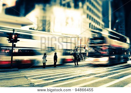Abstract Cityscape Blurred Night View. Hong Kong