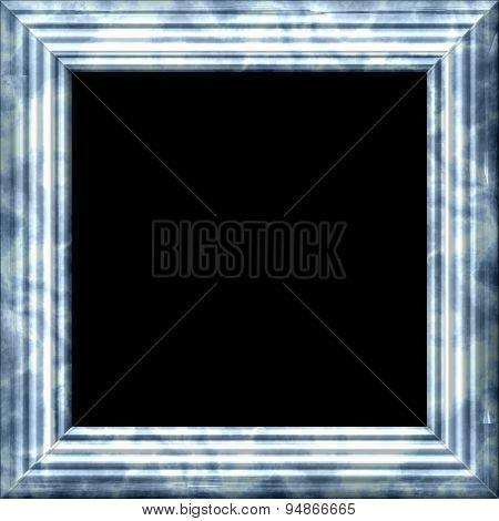 Vintage Silver Metal Or Wooden Frame With Grunge Pattern