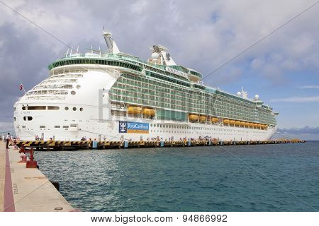 Luxury Cruist Ship At Port Cozumel, Mexico