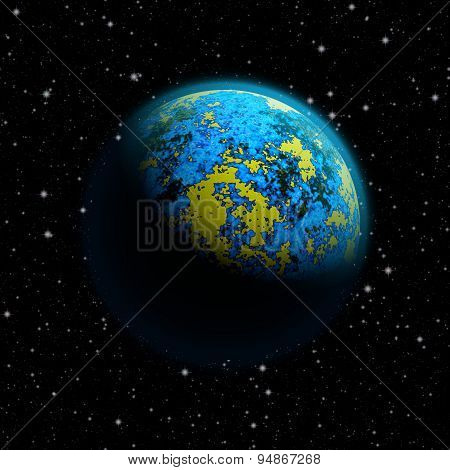 Abstract Planet Earth With Blue Atmosphere And Massive Flood And Continents Breakdown