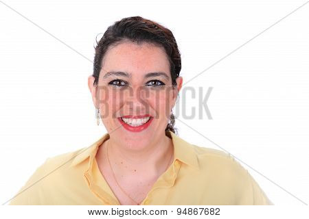 Face Forward Normal Headshot Of A Spanish Woman With Dark Hair